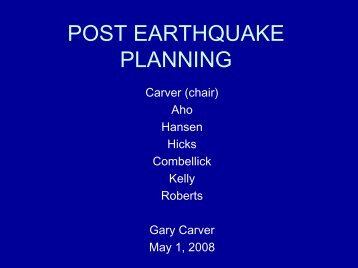 POST EARTHQUAKE PLANNING - Alaska Seismic Hazards Safety ...