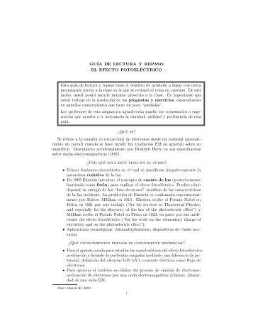 Guia de estudio de efecto fotoelectrico