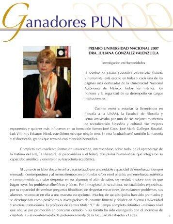 Dra. Juliana González V. - dgapa unam