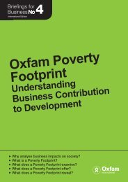 Oxfam Poverty Footprint - Understanding Business Contribution to