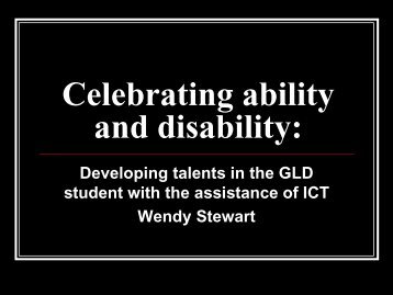 Celebrating ability and disability: - AAEGT