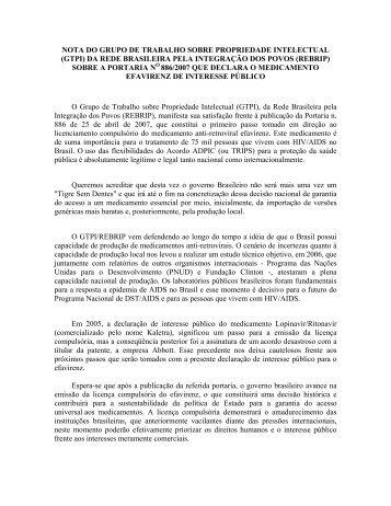 nota do grupo de trabalho sobre propriedade intelectual - Abia
