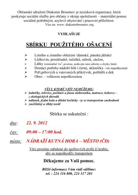 Občanské sdružení Diakonie Broumov je nezisková ... - Kutná Hora