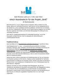 """eine/n Koordinator/in für das Projekt """"GenE"""" - BenE – München"""