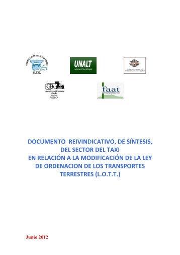 REIVINDICACIONES SECTOR TAXI- Lott 2012- 06 - Stac