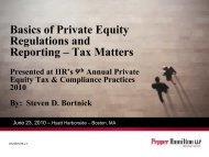 Basics of Private Equity Regulations and Reporting - Pepper ...