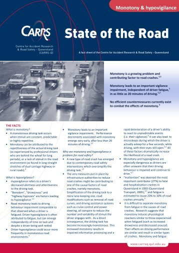 Monotony and hypovigilance fact sheet - Centre for Accident ...