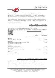 Speise- & Getränkekarte - Steff's LOUNGE