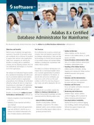 Adabas 8.x Certified Database Administrator for ... - Software AG