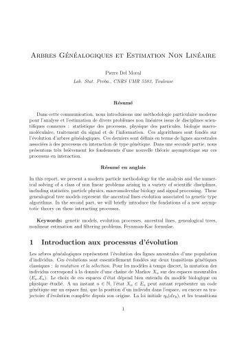 Arbres Généalogiques et Estimation Non Linéaire 1 Introduction aux ...