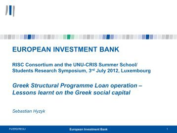 Greek Structural Programme Loan Operation-Lessons Learnt on the ...