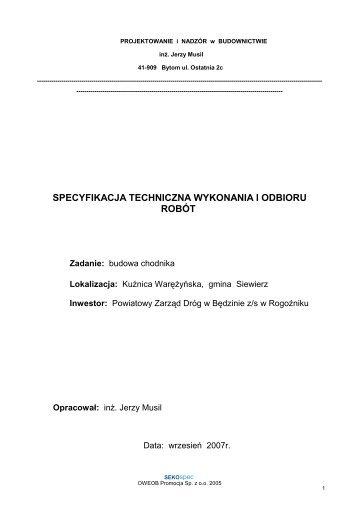Załącznik nr 7 - Specyfikacja techniczna wykonania i odbioru robót