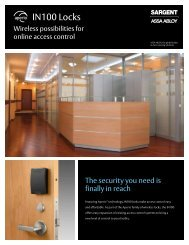 SARGENT IN100 Locks - Access Control Solutions from ASSA ABLOY