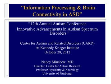 """Information Processing & Brain Connectivity in ASD"" - University of ..."