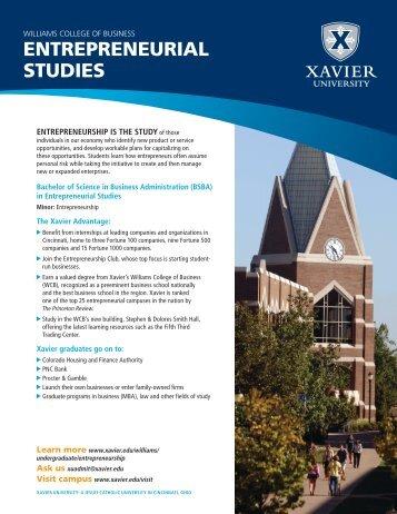 ENTREPRENEURIAL STUDIES - Xavier University