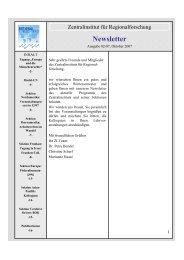 Newsletter 02/2007 - Zentralinstitut für Regionenforschung