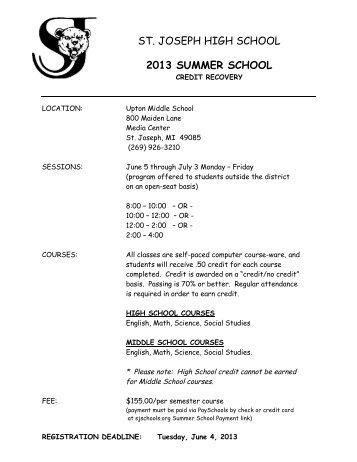 2013 registration FORM - St. Joseph Public Schools