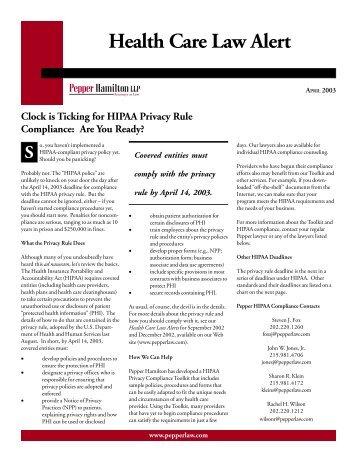 the PDF version - Pepper Hamilton LLP