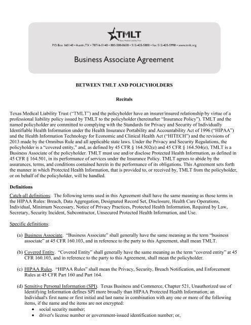 BUSINESS ASSOCIATE AGREEMENT - TMLT