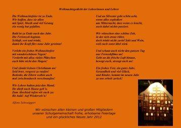 Weihnachtsgedicht der Lehrer - Grundschule Saulheim