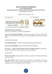 IX Forum Nazionale dei Mediatori - programma