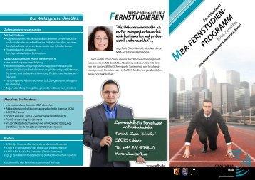 Flyer MBA Fernstudienprogramm - ZFH