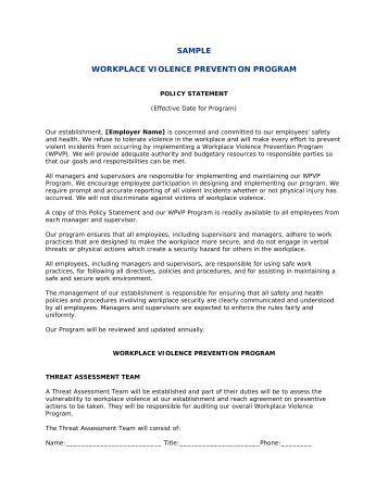 company name workplace violence prevention program hrinsider. Black Bedroom Furniture Sets. Home Design Ideas