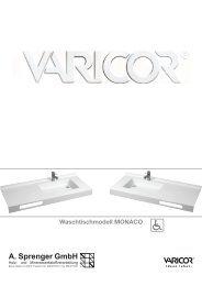 Technische Daten Waschtischmodell MONACO - Varicor