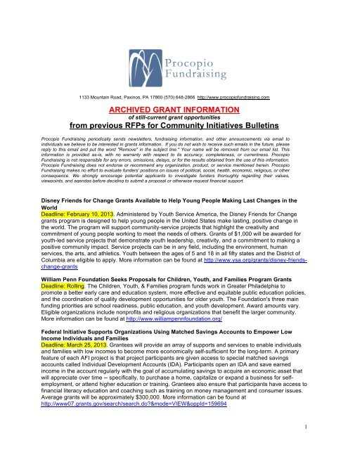 ARCHIVED GRANT INFORMATION from previous RFPs for