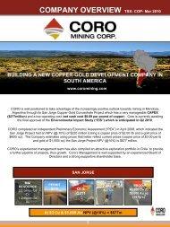 COMPANY OVERVIEW - CORO Mining Corp.