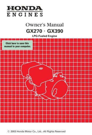 Owner's Manual - Honda Engines