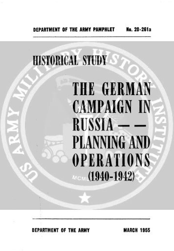 the german campaign in russia - - planning and ... - Sturmpanzer.com