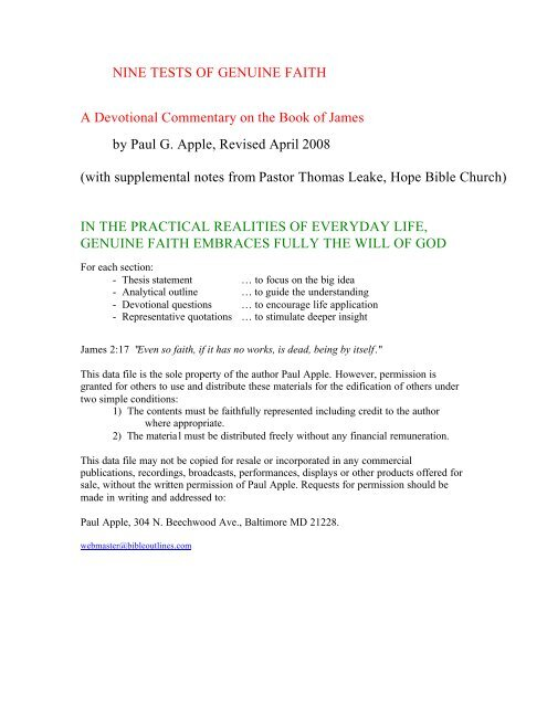 James - Free sermon outlines, Bible study and