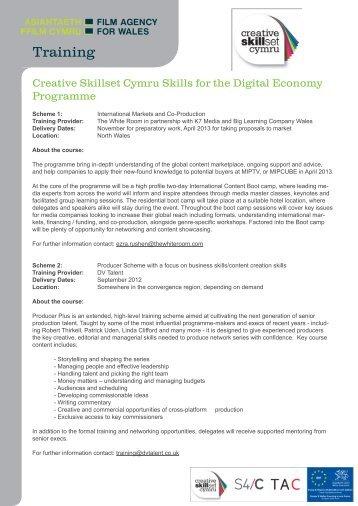 Creative Skillset Cymru Rhaglen Sgiliau ar gyfer yr Economi Ddigidol