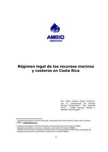 Régimen legal de los recursos marinos y costeros en Costa Rica