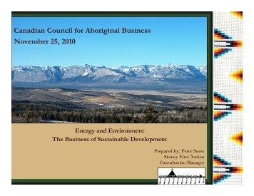 Canadian Council for Aboriginal Business November 25, 2010