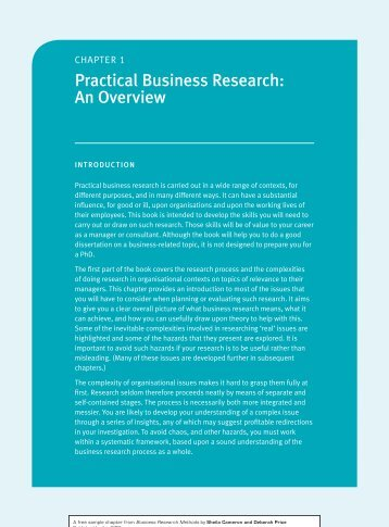 CHAptER 1: Practical Business Research: An Overview - CIPD