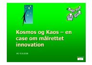Kosmos og Kaos – en case om målrettet innovation - TM-Innovation