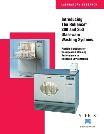 Reliance 200 and 250 Glassware Washing Systems Brochure
