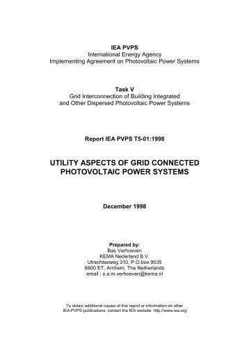 utility aspects of grid connected photovoltaic power systems