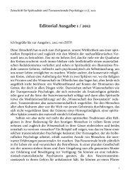Editorial Ausgabe 1 / 2012 - Zeitschrift für Spiritualität und ...