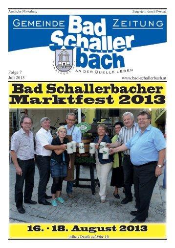 Gemeindezeitung 7/2013 - Gemeinde Bad Schallerbach