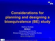 Considerations for planning and designing a bioequivalence (BE ...