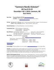"""Canmore Nordic Kickstart"" AB Cup #1 & #2 December 4 & 5, 2010 ..."