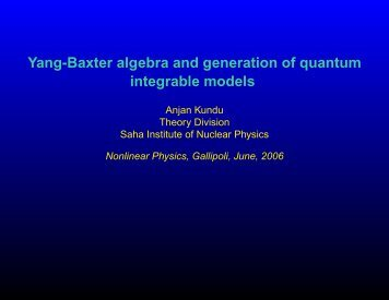 Yang-Baxter algebra and generation of quantum integrable models ...