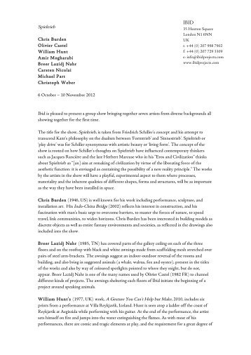 press release - Ibid Projects