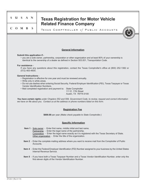 Texas Registration for Motor Vehicle Related Finance Company