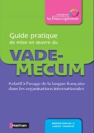 Guide pratique de mise en oeuvre du Vade-mecum sur la langue ...