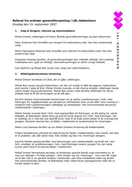 L B L - K Ø B E N H A V N - Landsforeningen for bøsser og lesbiske