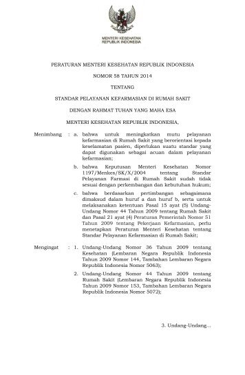 PMK 58 tahun 2014 ttg standar yanfar RS
